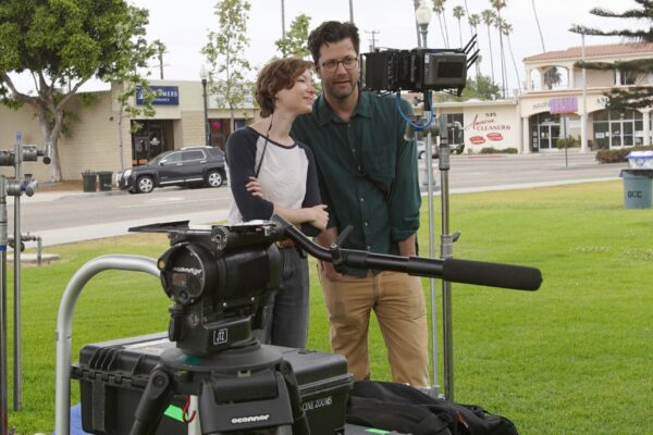 Arielle Kilker and Dave Nordstrom on set